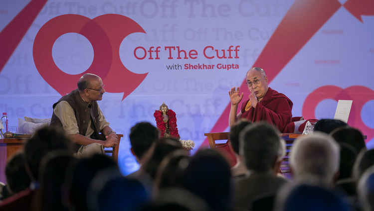 His Holiness the Dalai Lama giving an interview to Shekhar Gupta as part of his Off the Cuff series in New Delhi, India on February 6, 2017. Photo/Tenzin Choejor/OHHDL